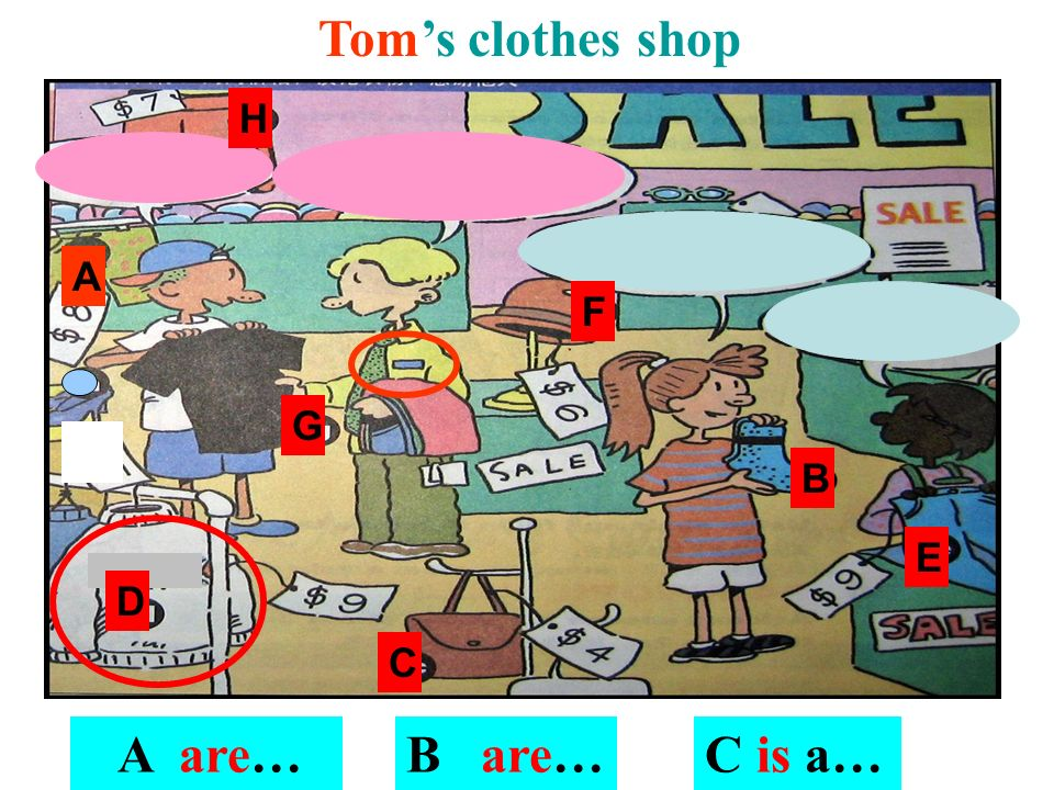 Tom's clothes shop H A F G B E D C A are… B are… C is a…