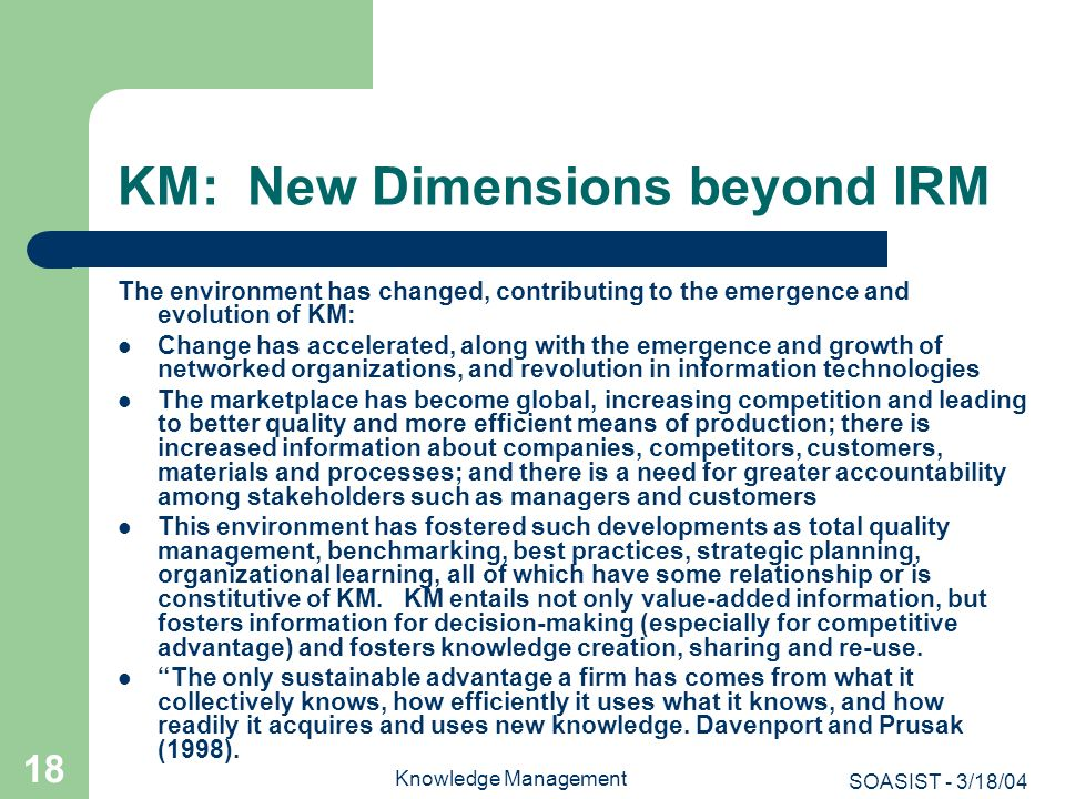 KM: New Dimensions beyond IRM