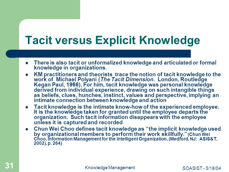 Tacit versus Explicit Knowledge