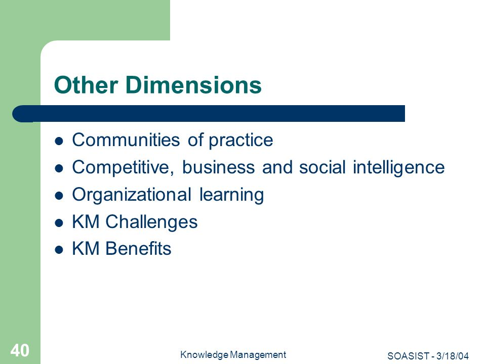 Other Dimensions Communities of practice