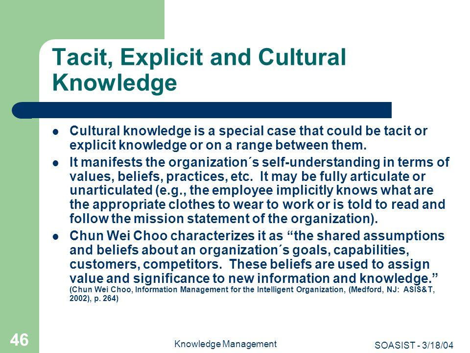 Tacit, Explicit and Cultural Knowledge