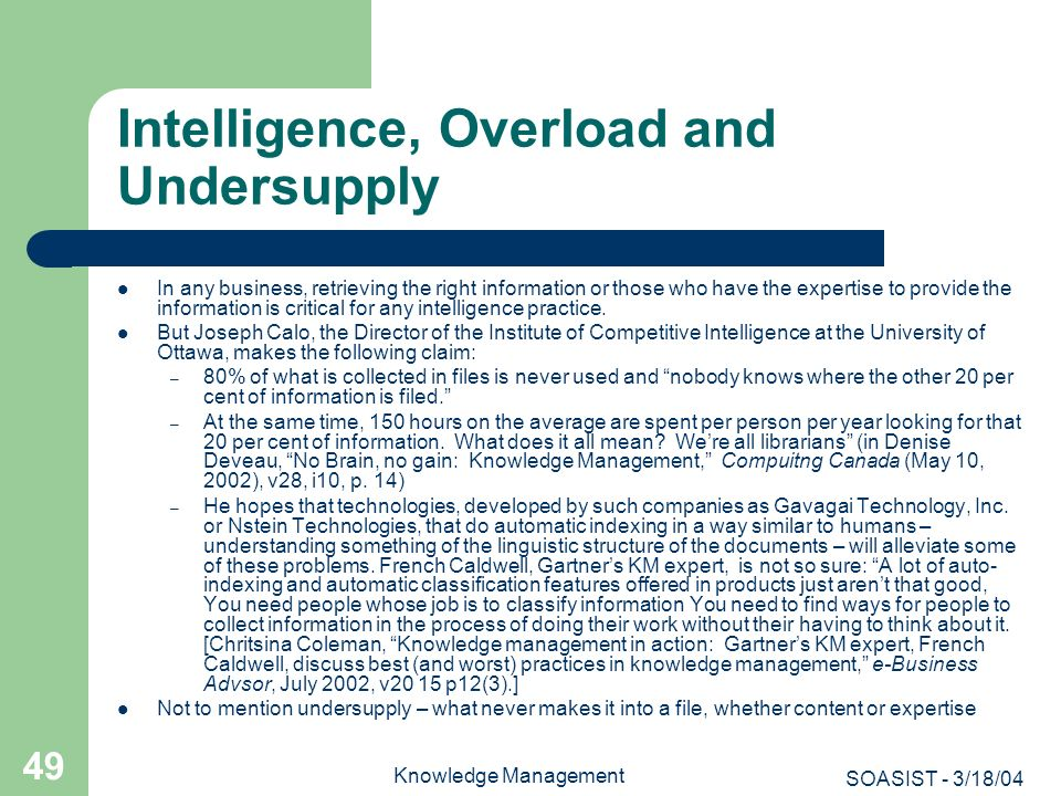 Intelligence, Overload and Undersupply