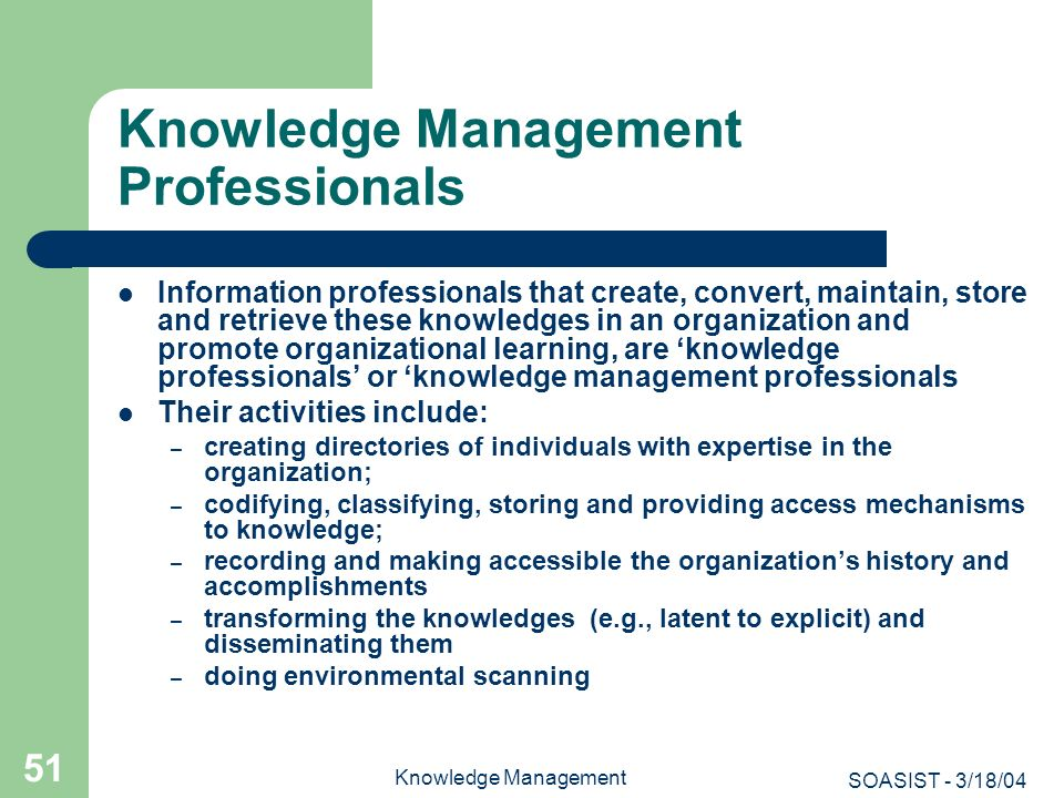 Knowledge Management Professionals