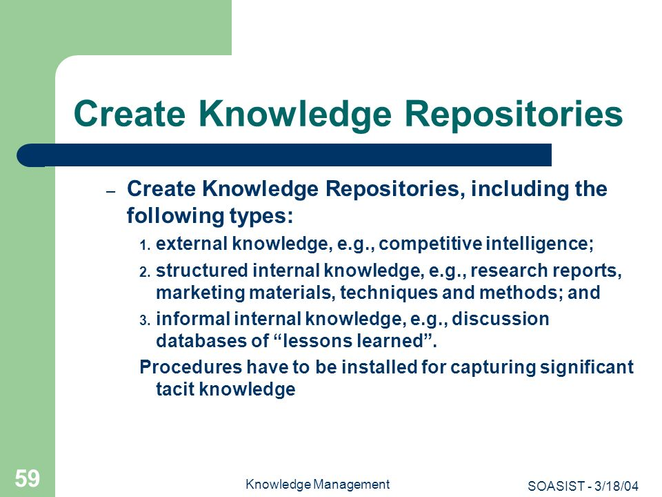 Create Knowledge Repositories