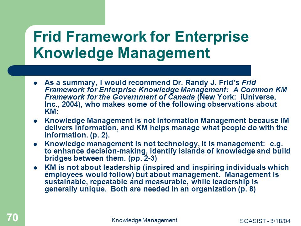 Frid Framework for Enterprise Knowledge Management