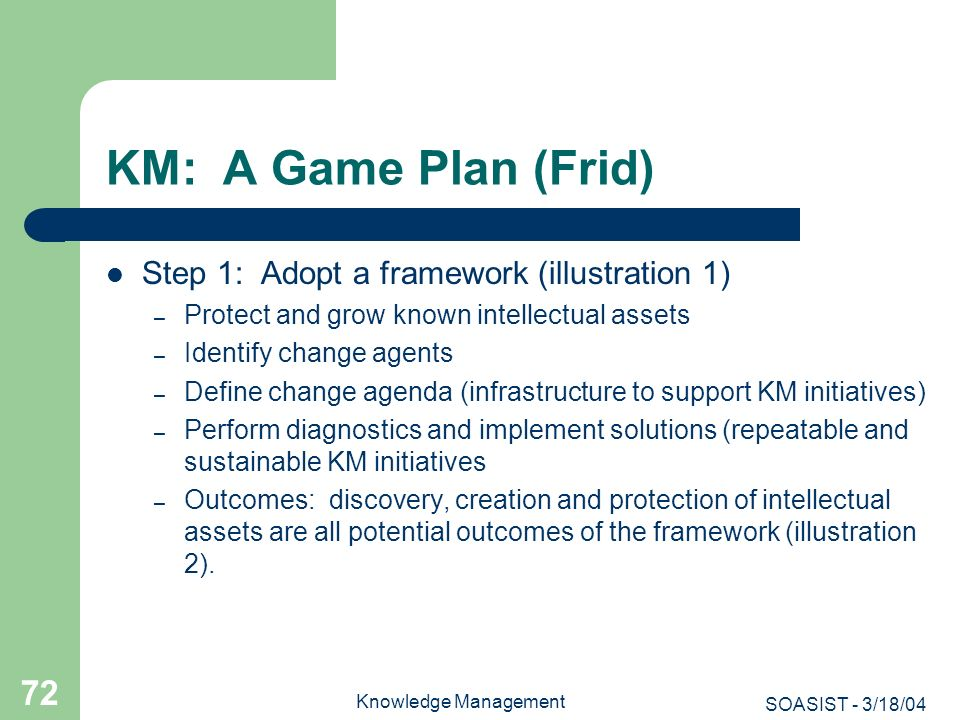 KM: A Game Plan (Frid) Step 1: Adopt a framework (illustration 1)