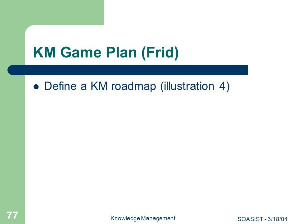 KM Game Plan (Frid) Define a KM roadmap (illustration 4)