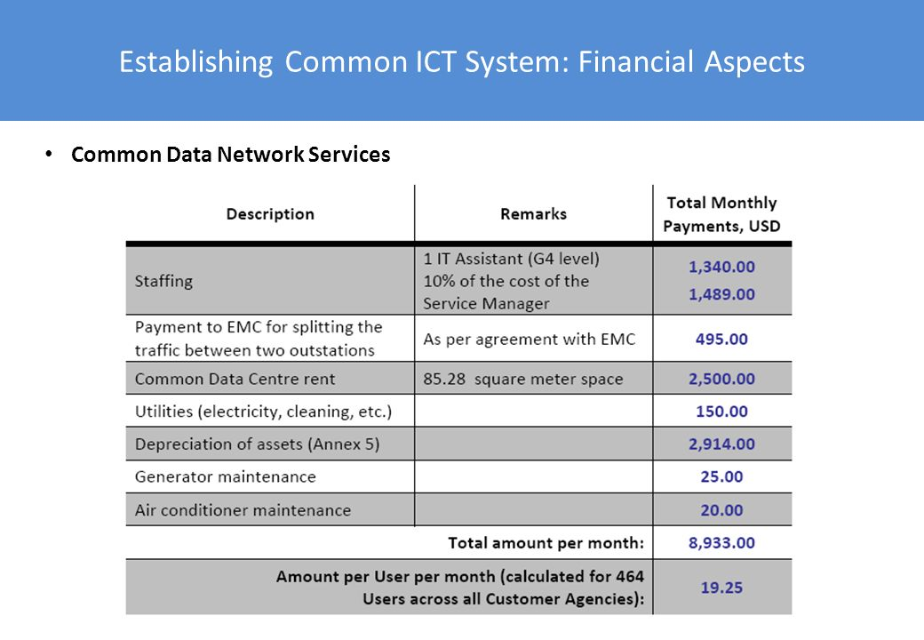 Establishing Common ICT System: Financial Aspects