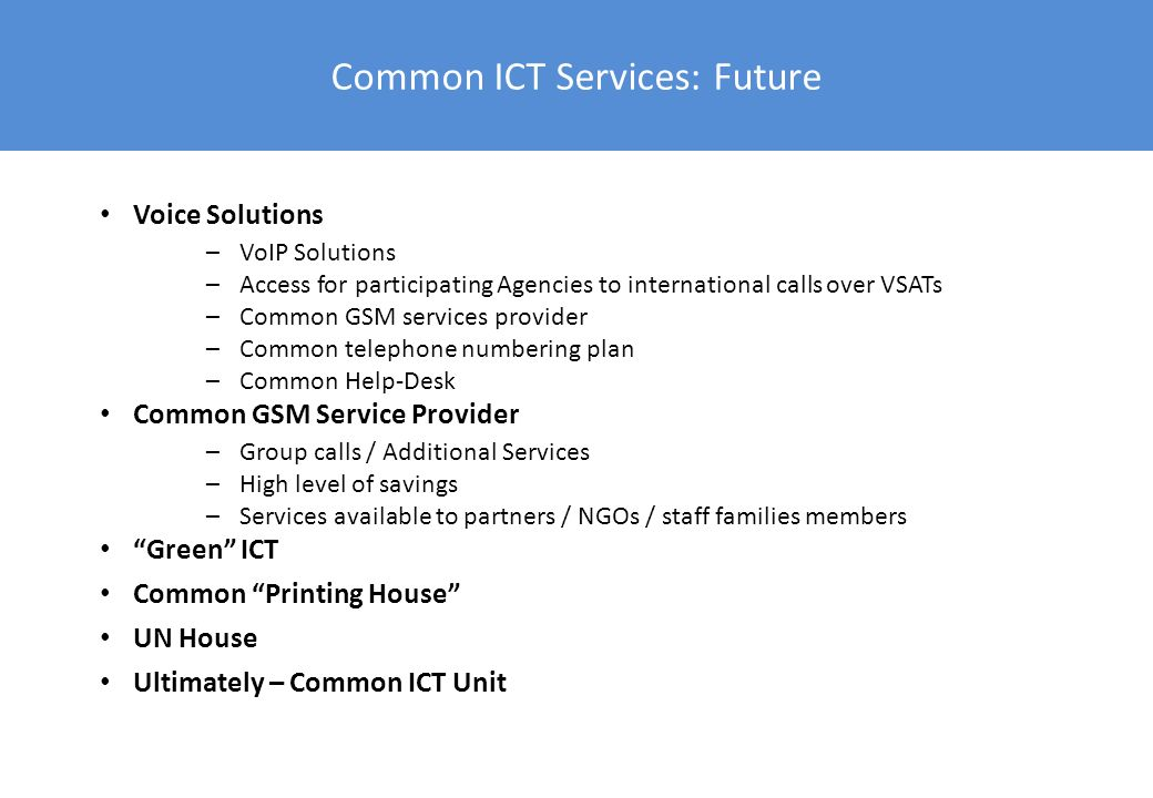 Common ICT Services: Future