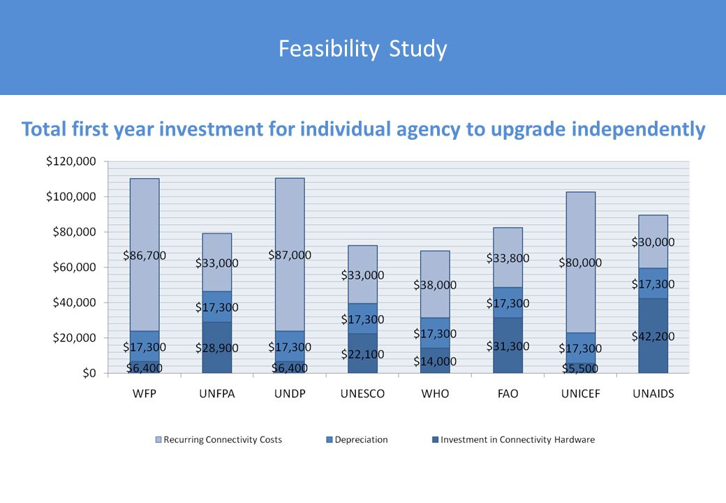 Feasibility Study Total first year investment for individual agency to upgrade independently