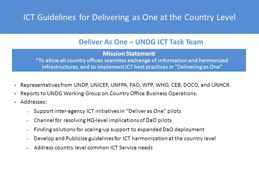 ICT Guidelines for Delivering as One at the Country Level