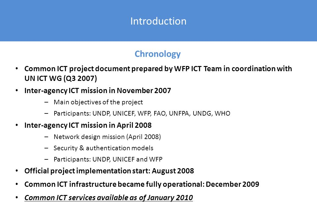 Introduction Chronology