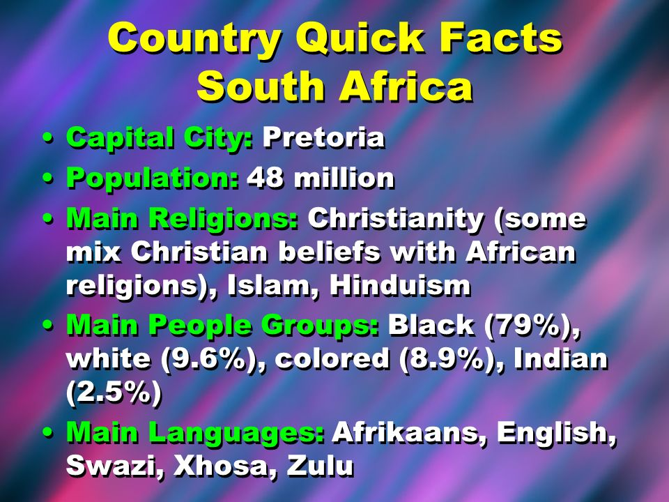 Country Quick Facts South Africa