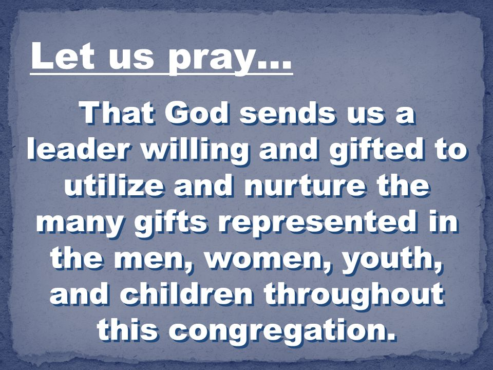 Let us pray…