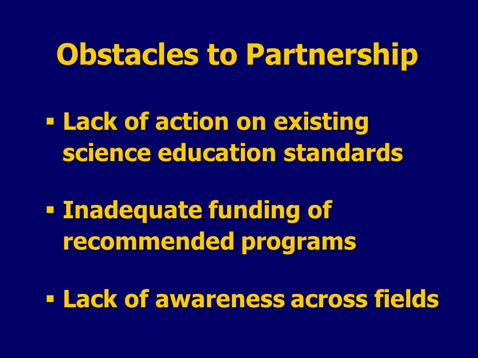 Obstacles to Partnership