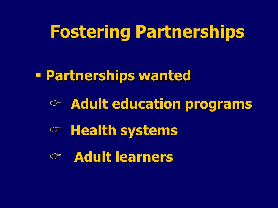 Fostering Partnerships