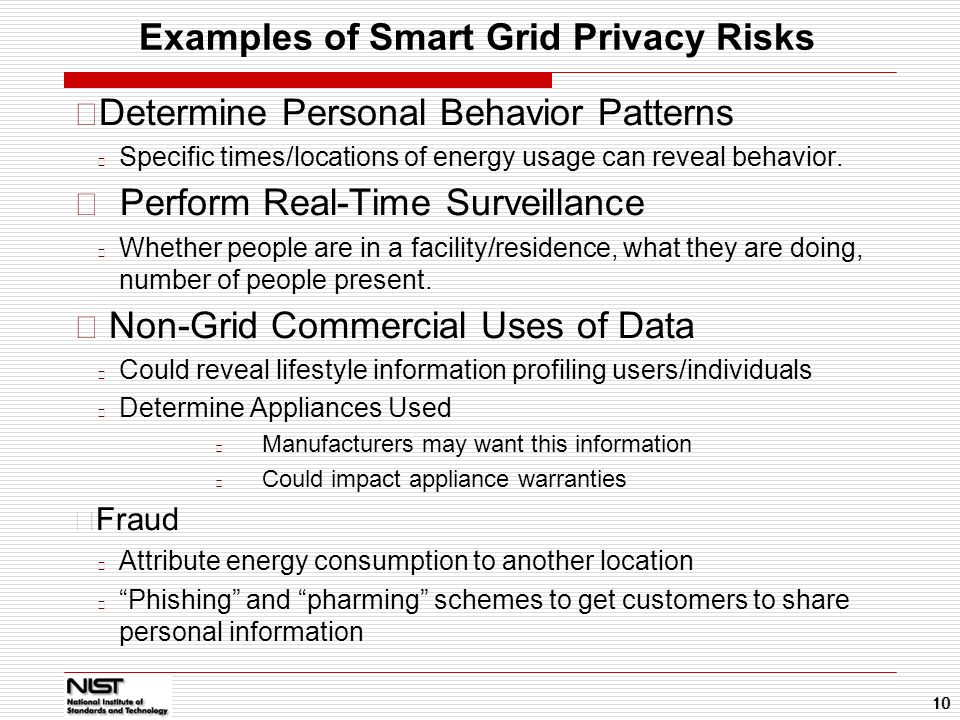 Examples of Smart Grid Privacy Risks