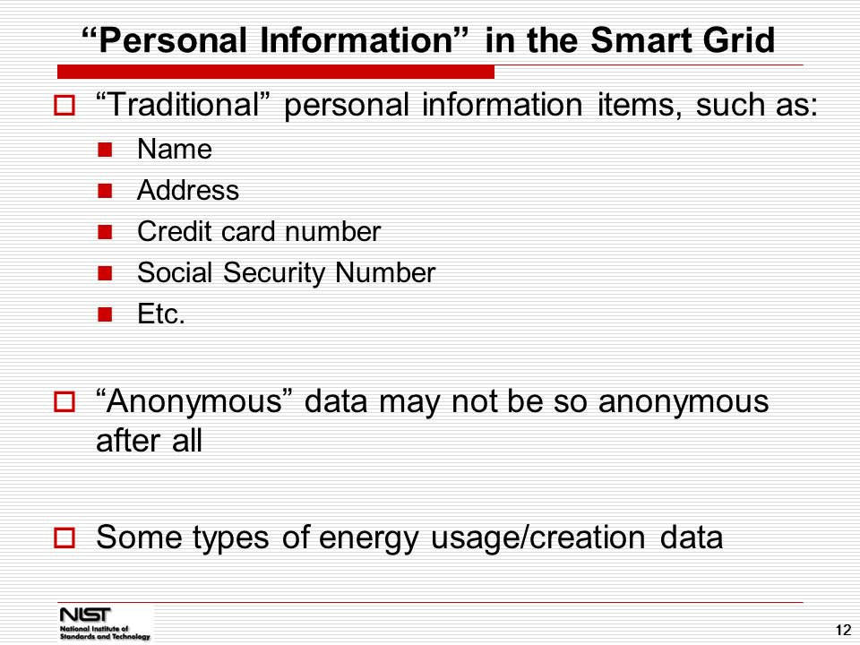 Personal Information in the Smart Grid