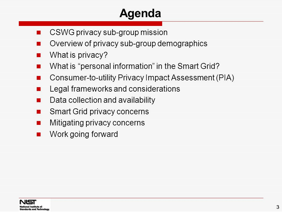Agenda CSWG privacy sub-group mission