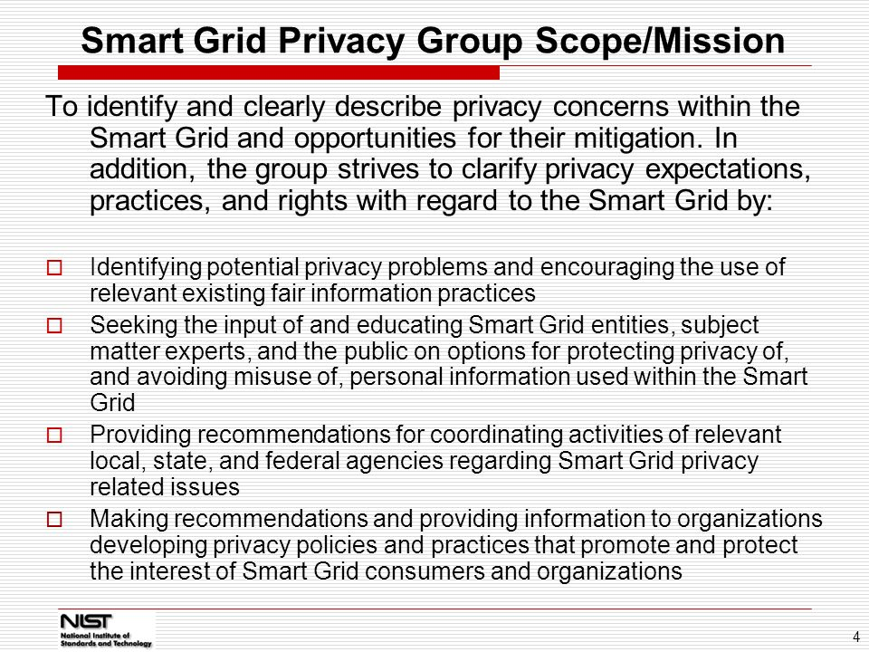 Smart Grid Privacy Group Scope/Mission