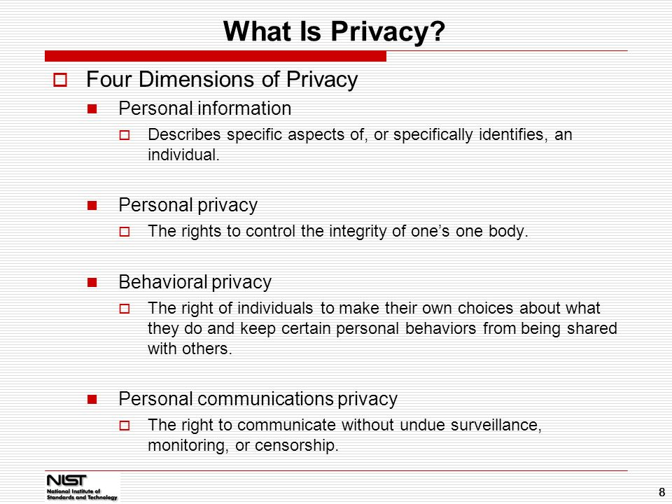 What Is Privacy Four Dimensions of Privacy Personal information