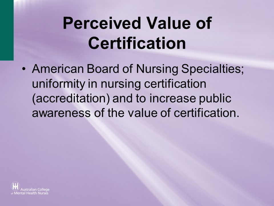 Perceived Value of Certification