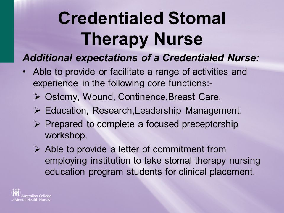 Credentialed Stomal Therapy Nurse
