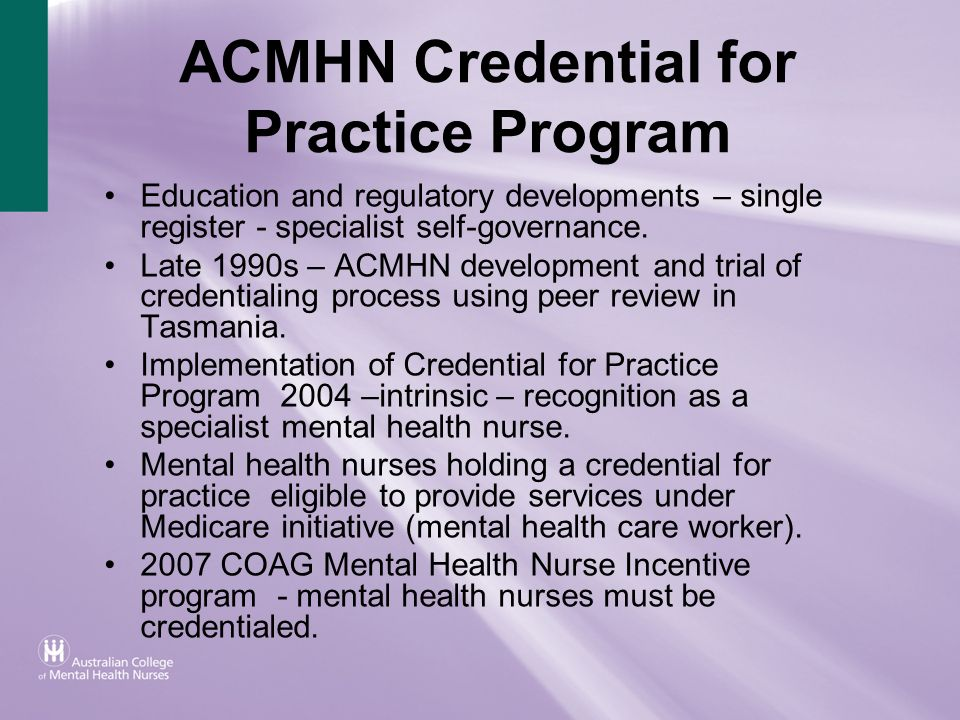 ACMHN Credential for Practice Program