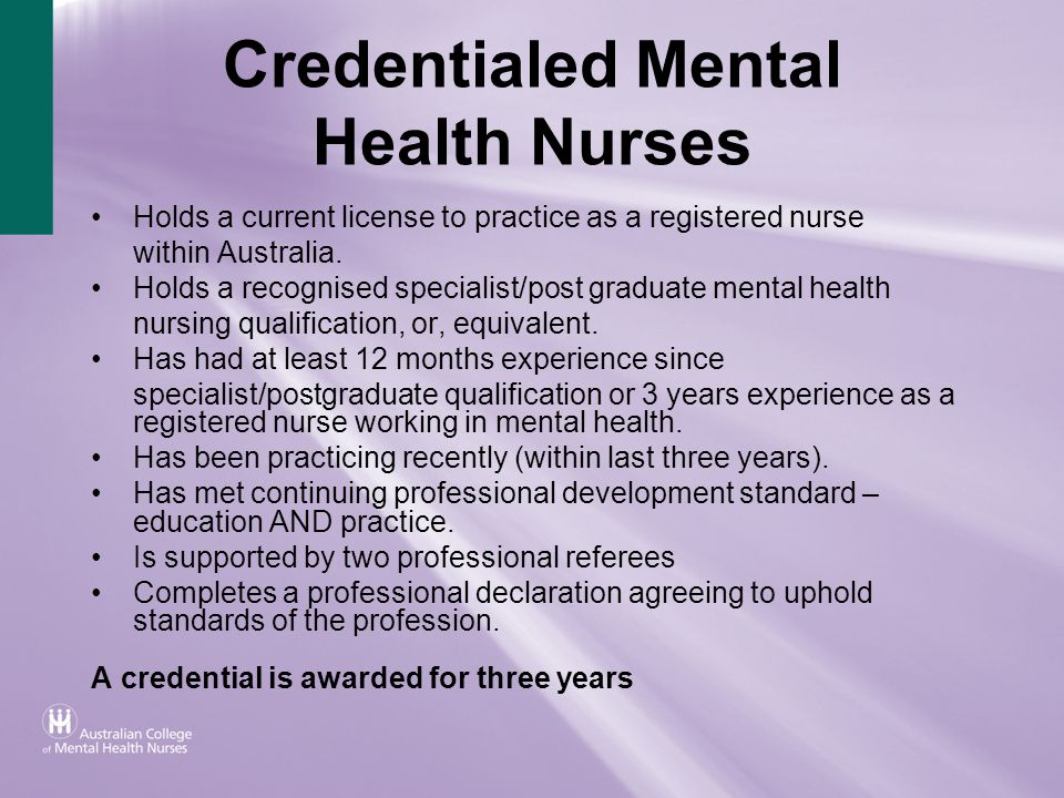 Credentialed Mental Health Nurses