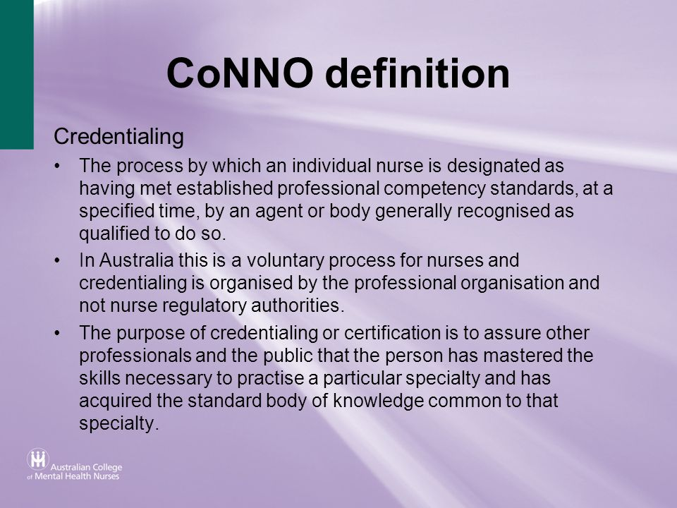 CoNNO definition Credentialing