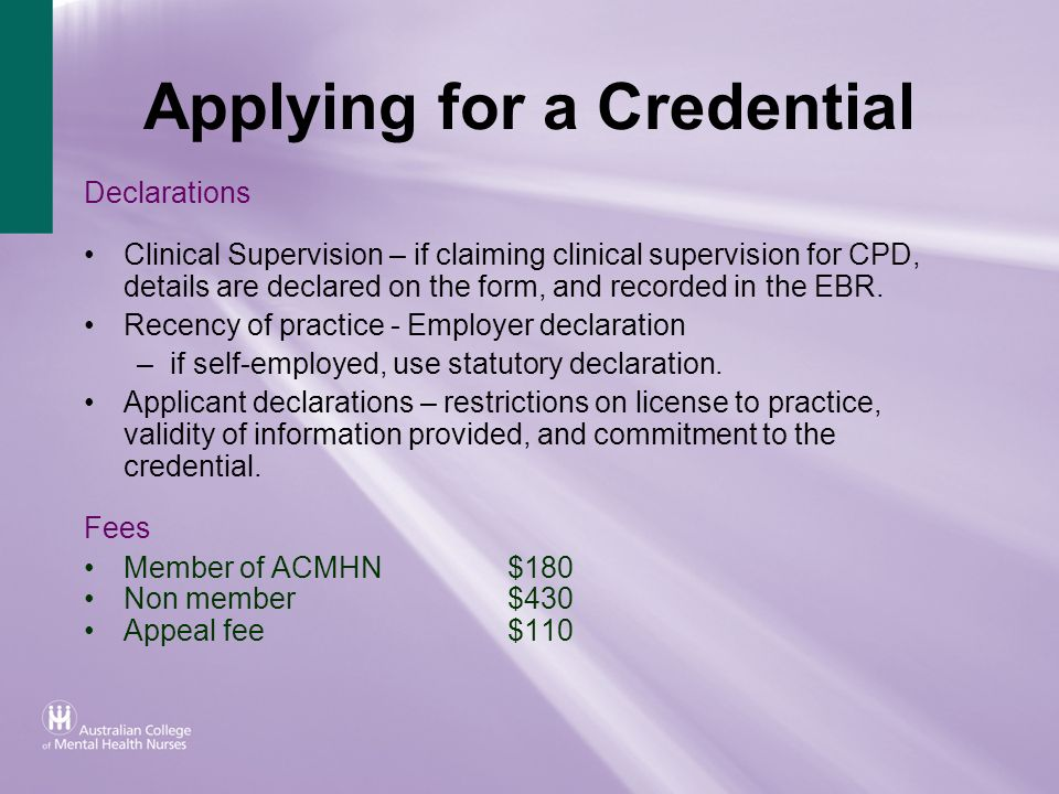 Applying for a Credential