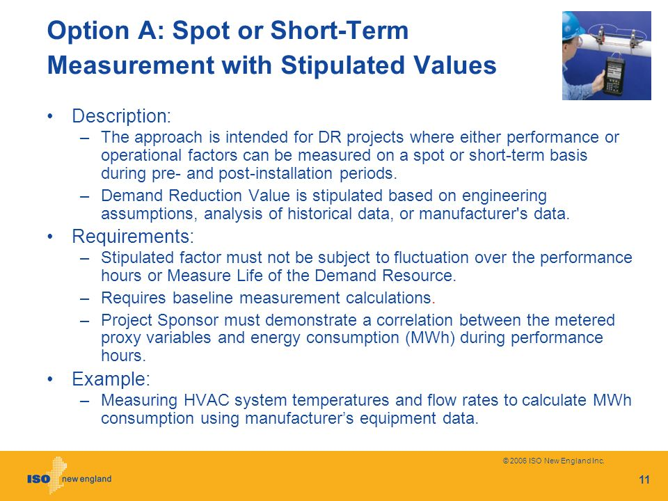 Option A: Spot or Short-Term Measurement with Stipulated Values