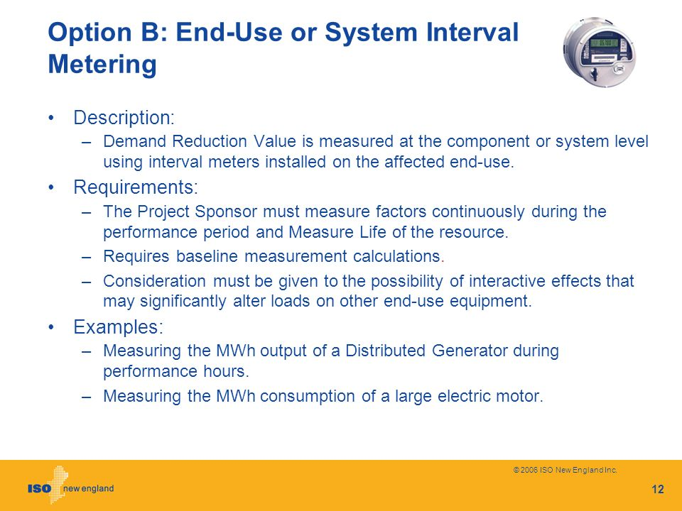 Option B: End-Use or System Interval Metering