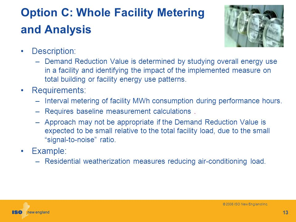 Option C: Whole Facility Metering and Analysis