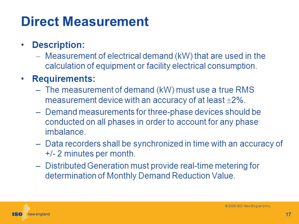 Direct Measurement Description: Requirements: