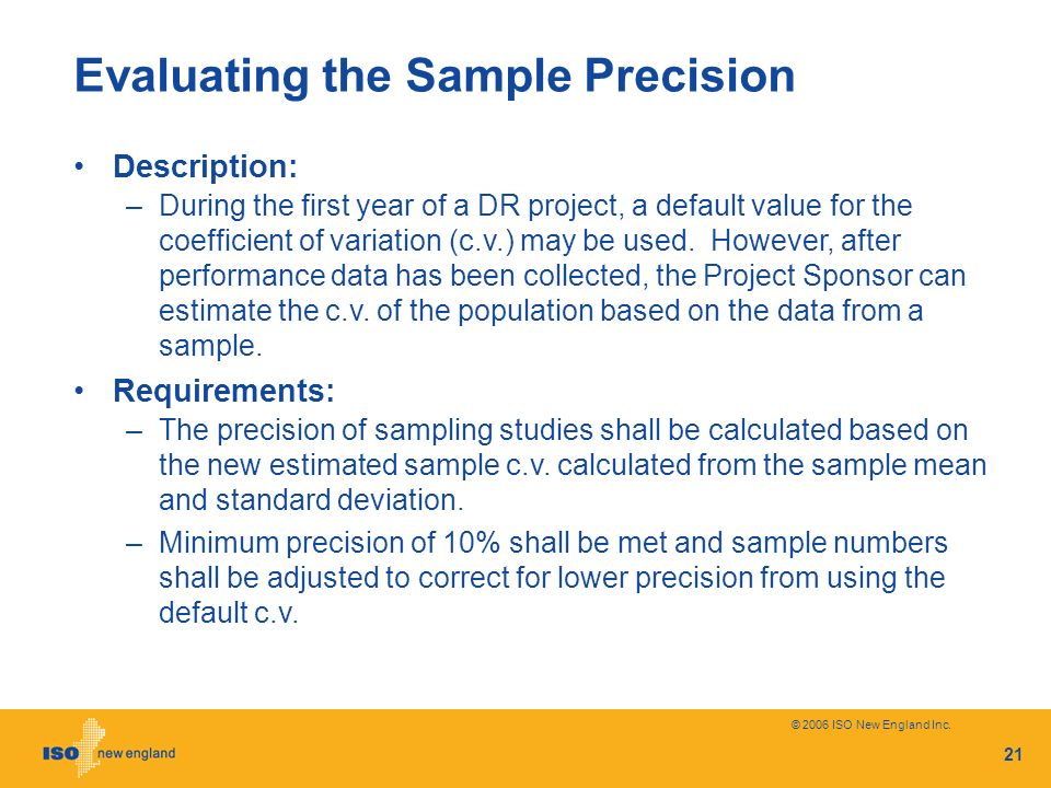 Evaluating the Sample Precision