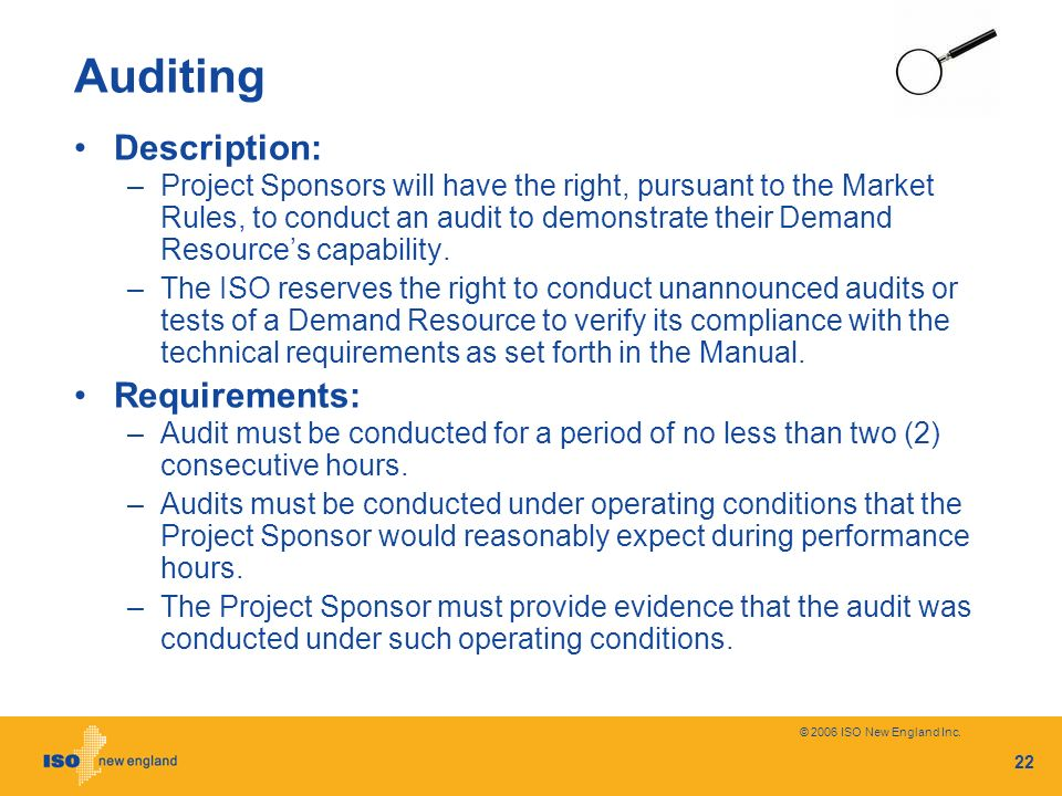 Auditing Description: Requirements: