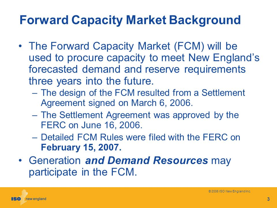 Forward Capacity Market Background