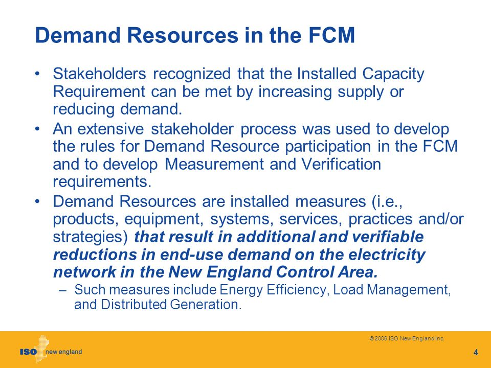 Demand Resources in the FCM