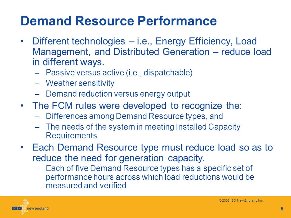 Demand Resource Performance