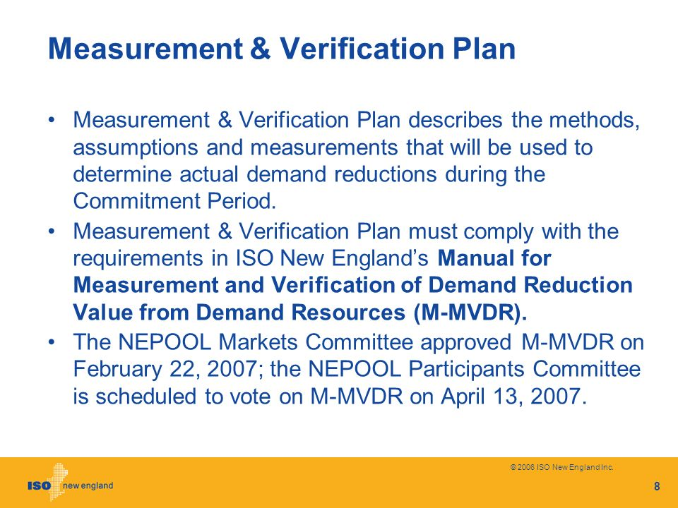Measurement & Verification Plan