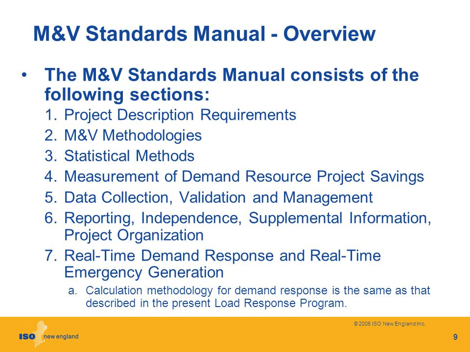 M&V Standards Manual - Overview