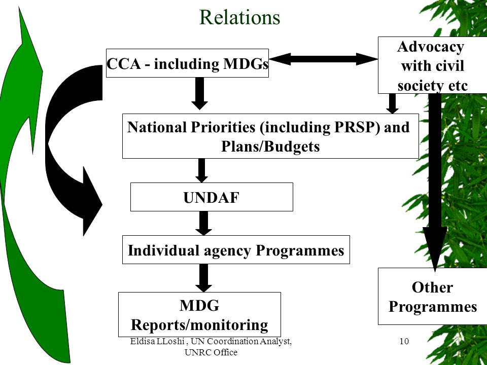 National Priorities (including PRSP) and Individual agency Programmes
