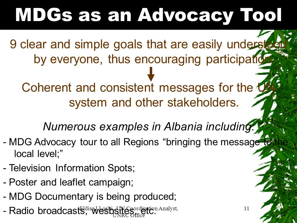 MDGs as an Advocacy Tool