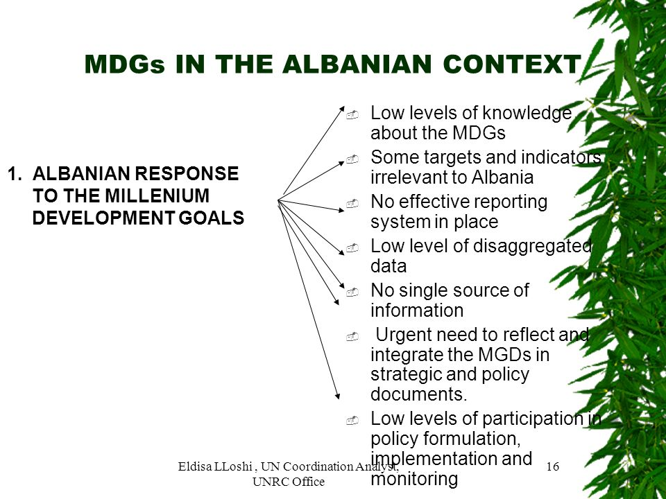 MDGs IN THE ALBANIAN CONTEXT