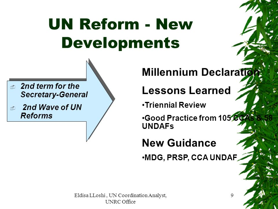 UN Reform - New Developments