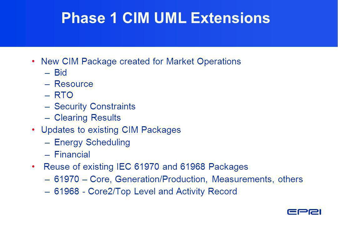 Phase 1 CIM UML Extensions