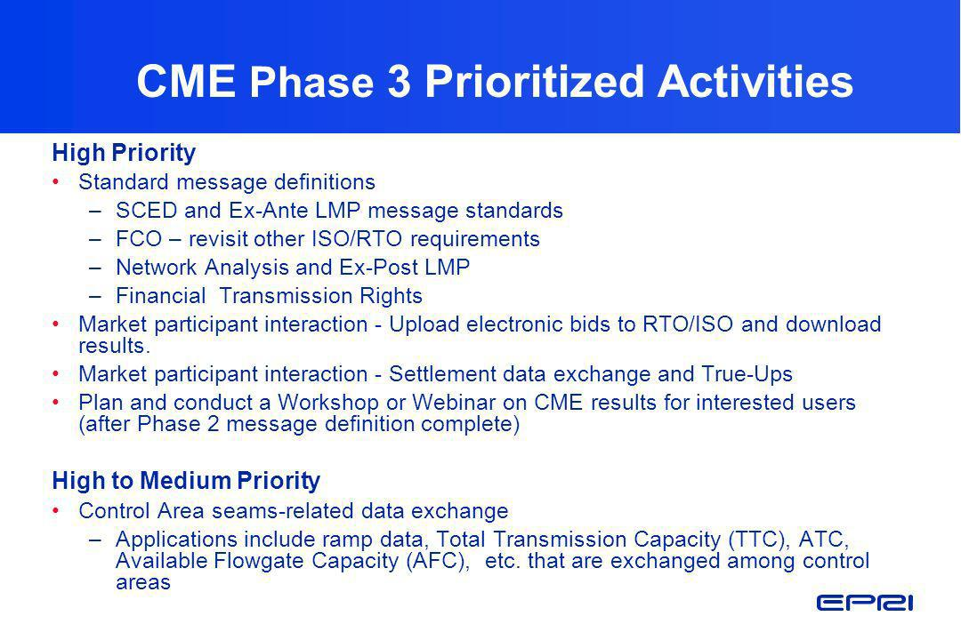 CME Phase 3 Prioritized Activities
