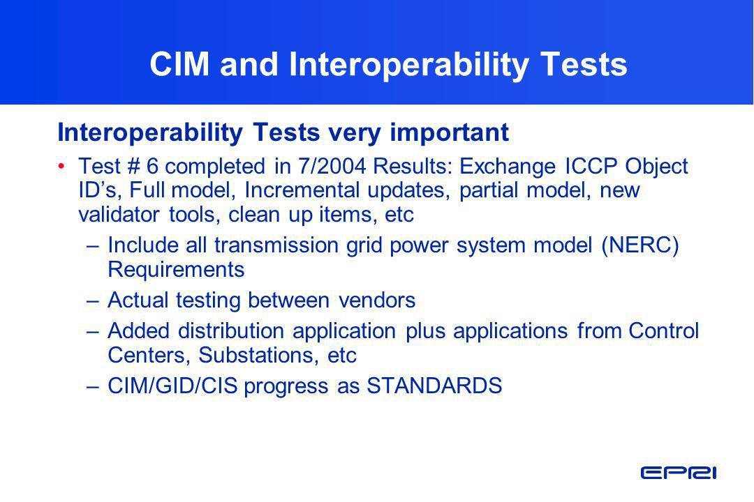 CIM and Interoperability Tests