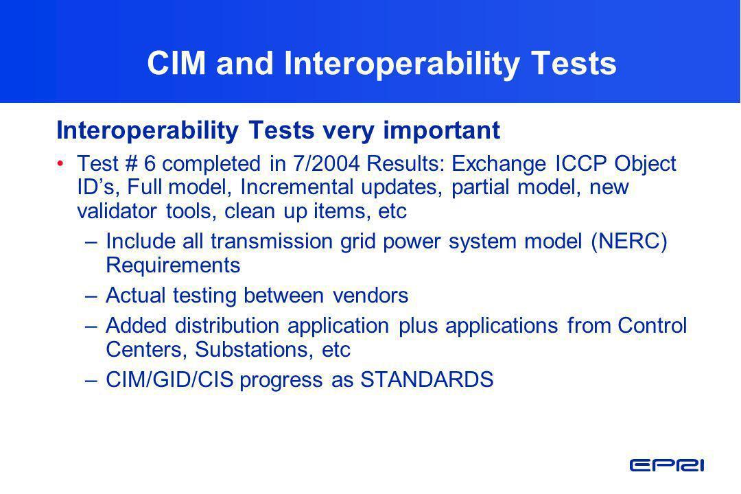 CIM and Interoperability Tests